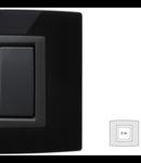 Placa Vitra sticla negru pur, 2 module, mod comanda gri