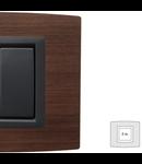 Placa Vitra lemn cires, 2 module, mod comanda gri