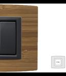 Placa Vitra lemn bambus, 2 module, mod comanda gri
