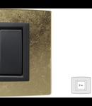 Placa Vitra sticla frunza de aur, 2 module, mod comanda gri