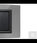 Placa Vitra sticla oglinda de argint, 2 module, mod comanda gri