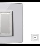 Placa Vitra sticla cristal, 2 module, mod comanda alb