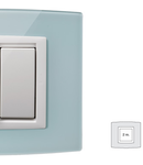 Placa Vitra sticla albastru deschis, 2 module, mod comanda alb