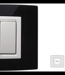 Placa Vitra sticla negru pur, 2 module, mod comanda alb