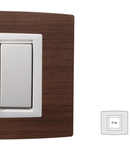 Placa Vitra lemn cires, 2 module, mod comanda alb