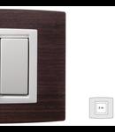 Placa Vitra lemn nuc natural, 2 module, mod comanda alb
