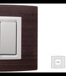 Placa Vitra lemn wenghe, 2 module, mod comanda alb