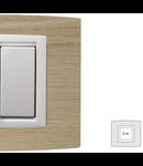 Placa Vitra lemn stejar alb, 2 module, mod comanda alb