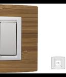 Placa Vitra lemn bambus, 2 module, mod comanda alb