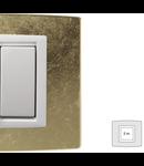 Placa Vitra sticla frunza de aur, 2 module, mod comanda alb
