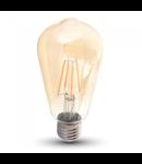Bec LED Filament,8 w,E27,lumina calda,bulb sticla ST64,pelicula chihlimbar