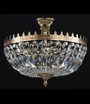 Candelabru Diamant Crystal Tiara 5 becuri dulie E14, 230V,D.36cm, H.33 cm,Auriu