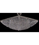 Candelabru Diamant Crystal Quadrato,8 becuri dulie E27, 230V,L.48cm, H.32 cm,Nichel
