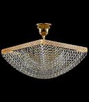 Candelabru Diamant Crystal Quadrato,4 becuri dulie E27, 230V,L.30cm, H.26 cm,Auriu