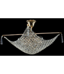 Candelabru Diamant Crystal Croce,4 becuri dulie E27, 230V,L.50cm, H.30 cm,Auriu