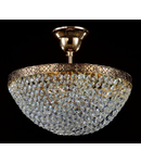 Candelabru Diamant Crystal Fabric,3 becuri dulie E27, 230V,L.30cm, H.27 cm,Auriu