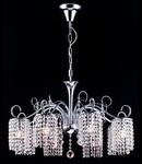 Candelabru Diamant Crystal Leona,5 becuri dulie E27, 230V,D.73cm, H.86 cm,Nichel