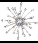 Corp de iluminat suspendat din sticla suflata si profilata manual cu elemente decorative cromate