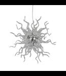 Lampa din sticla suflata si profilata manual in forma razelor soarelui transparenta