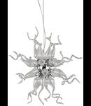 Lampa din sticla suflata si profilata manual in forma razelor soarelui crom