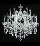 Candelabru Diamant Crystal Inverno,25 becuri dulie E14, 230V,D.110cm, H.127 cm,Argintiu