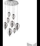 Corp de iluminat din sticla suflata si prelucrata manual sub forma de balon cromat 8x40W