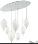Corp de iluminat din sticla suflata si prelucrata manual sub forma de balon alb 7x40W