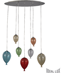 Corp de iluminat din sticla suflata si prelucrata manual sub forma de balon multicolor 7x40W