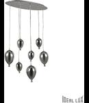 Corp de iluminat din sticla suflata si prelucrata manual sub forma de balon cromat 7x40W