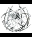 Corp de iluminat cu elemente din sticla cromata curbata manual si cu sistem de blocare automat 8x28W