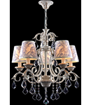 Candelabru Elegant Velvet,5 becuri dulie E14, 230V,D.68cm, H.61 cm,Auriu-Alb