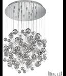 Corp de iluminat cu elemente decorative din sticla cromata si transparenta in forma de bule 14x40W