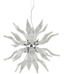 Corp de iluminat suspendat lucrat manual cu sticla suflata si elemente decorative transparent 630