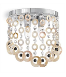 Corp de iluminat cu elemente decorative naturale sidefate si octogoane de cristal 2x40W