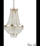 Candelabru cu margele din cristal si elemente decorative octogonale 6x40W Auriu