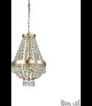 Candelabru cu margele din cristal si elemente decorative octogonale 4x40W Auriu