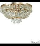 Corp de iluminat cu margele octogonale si cristale in forma de turturi 6x40W Auriu