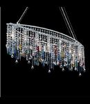 Corp de iluminat cu ornamente din cristale colorate si transparente 7x40W