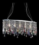 Corp de iluminat cu ornamente din cristale colorate si transparente 5x40W