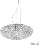 Corp de iluminat cu multiple cristale sferice si patrate asimetrice 6x40W