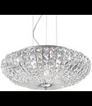 Corp de iluminat cu multiple cristale sferice si patrate asimetrice 5x40W