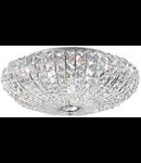Plafoniera cu multiple cristale sferice si patrate asimetrice 6x40W