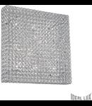 Plafoniera cu cristale taiate inserate in inele metalice 10x40W