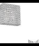Plafoniera cu cristale taiate inserate in inele metalice 4x40W