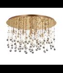 Plafoniera cu pandantive din cristal sferice si octogonale 12x40W Auriu