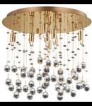 Plafoniera cu pandantive din cristal sferice si octogonale 8x40W Auriu