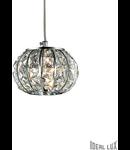 Pendul Calypso cu abajur sferic si decoratiuni de cristal 1x60W