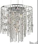 Pendul Evasione cu abajur alcatuit din cristale mari si mici suspendate 10x40W