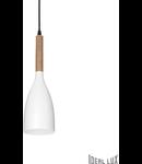Pendul Manhattan, 1 bec, dulie E14, D:110mm, H:500/1440mm, Alb si insertie de lemn natural