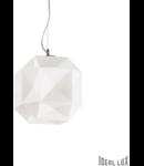 Pendul Diamond mediu, 1 bec, dulie E27, D:280mm, H:500/1300mm, Alb